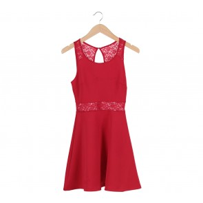 Forever 21 Red Lace Insert Sleeveless Mini Dress