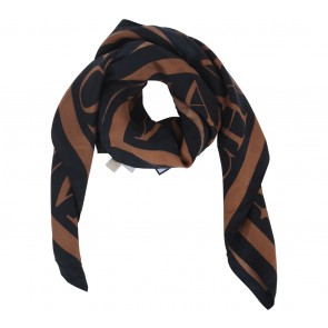 Michael Kors Black And Brown Silk Patterned Scarf