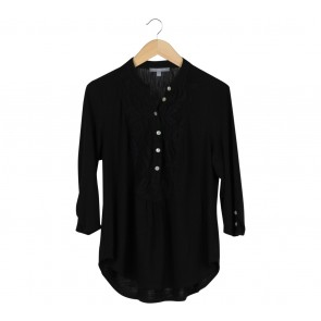 NY Collection Black Crochet Insert Blouse