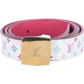 Louis Vuitton White Multicolor Monogram Belt