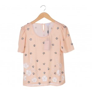 Next Peach Floral Sequins Blouse