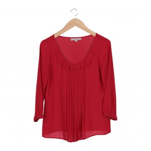 Ann Taylor Red Pleated Chiffon Blouse
