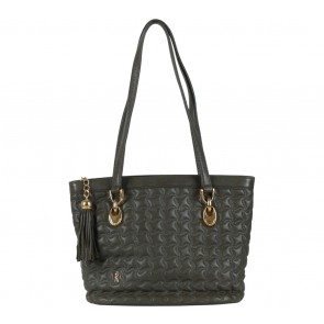 Roberta di Camerino Grey Quilted Tassel Shoulder Bag