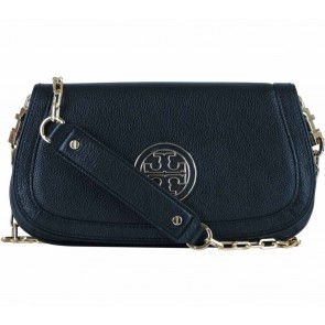 Tory Burch Black Amanda Logo Leather  Clutch