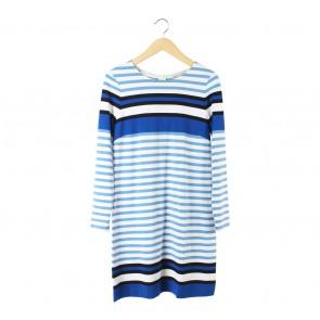 Banana Republic White And Blue Striped Midi Dress