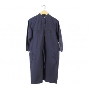 Raoul Dark Blue Drawstring Midi Dress