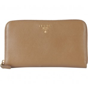Prada Brown Saffiano Metal Wallet