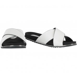 Something Borrowed Black And Off White Criss Cross Sliders Sandals
