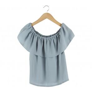 Cloth Inc Blue Bardot Cropped Sleeveless