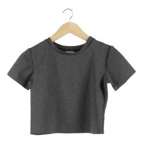 Yuan Dark Grey Back Cut Out Cropped T-Shirt