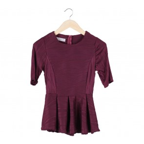 Neverland Maroon Patterned Peplum Blouse