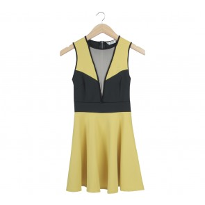 Miss Selfridge Black And Yellow Mini Dress