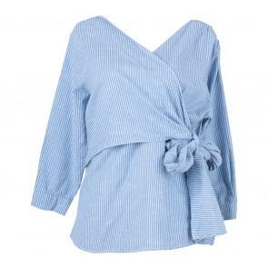 Blanc Blue And White Striped Wrap Blouse
