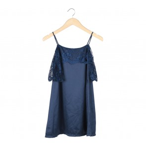 Dark Blue Off Shoulder Combi Lace Mini Dress