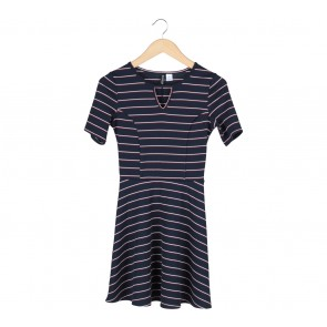Divided Dark Blue Striped Mini Dress