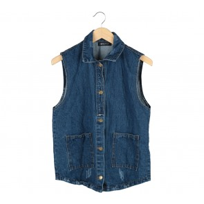 Herspot Dark Blue Denim Ripped Vest