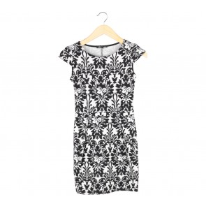 Mango Black And White Patterned Mini Dress