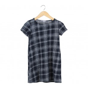 Mango Dark Blue And White Plaid Mini Dress
