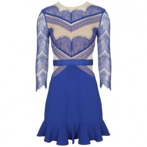 Three Floor Blue Midi Dress