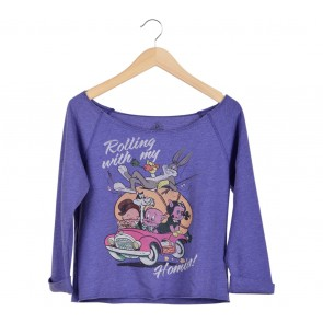 Forever 21 Purple Printed T-Shirt