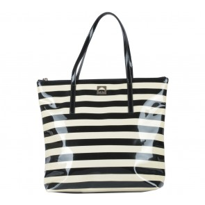 Kate Spade Black And Cream Striped Pammy Tote Bag