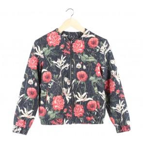 Mango Black Floral Jaket