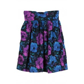 Purple and Blue Floral Mini Skirt