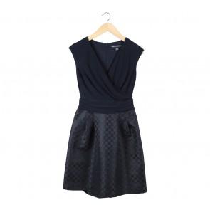 American Living Dark Blue And Black Polka Dot Mini Dress