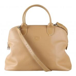 Longchamp Light Brown Calf Skin Leather Handbag