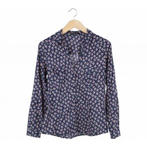 Mango Dark Blue Floral Shirt