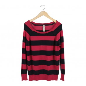 Pull & Bear Red And Black Striped Sweater