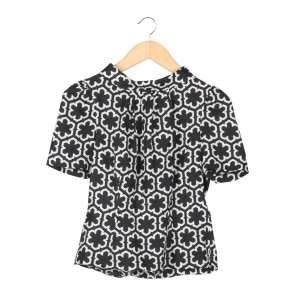 Milly Black And Cream Cut Out Shirt
