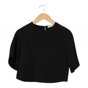 Sandro Black Cut Shoulder Blouse