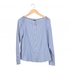 Pomelo. Blue And White Striped Bardots Shirt