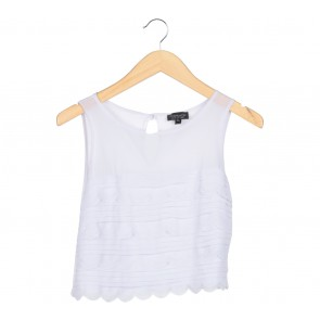 Topshop Grey Scallop Cropped Sleeveless