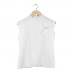 Zara Off White Textured Sleeveless