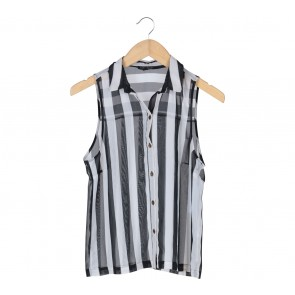 Topshop Black And White Striped Sleeveless