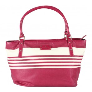 Kate Spade Red And Off White Striped Diaper Shoulder Bag