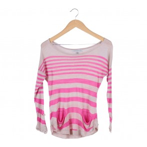 Forever New Cream And Pink Stripes T-Shirt