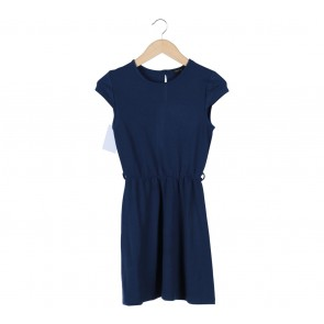 Topshop Dark Blue Waist Rubber Mini Dress