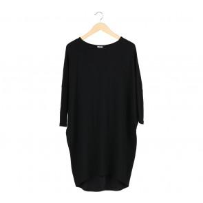 Petite Cupcake Black Loose Midi Dress