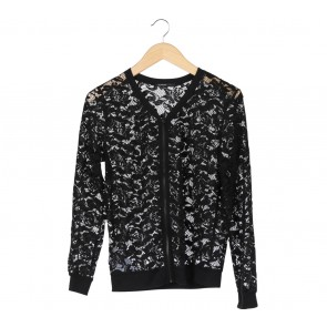 Mango Black Floral Lace Jacket