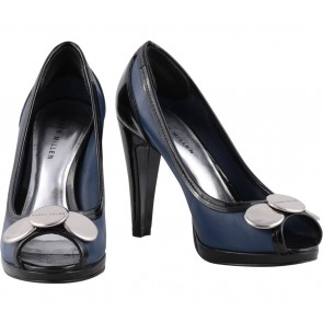 Karen Millen Black And Blue Open Toe Heels