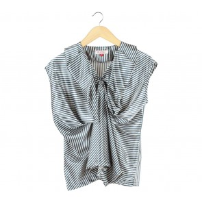 (X)SML Dark Blue And Cream Striped Blouse