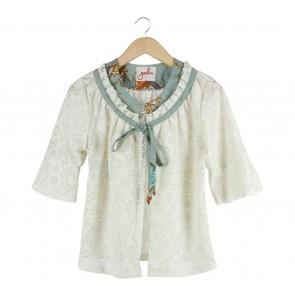Geulis Cream Floral See Thru Outerwear