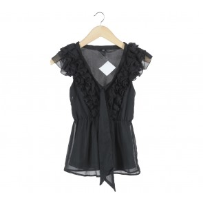 H&M Black Ruffle Blouse