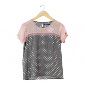 Monday To Sunday Grey Polka Dot Blouse