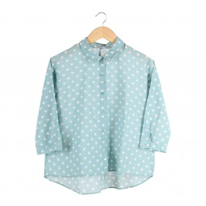 UNIQLO Green And White Polka Dot Shirt