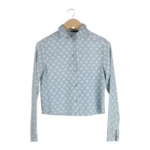 Topshop Blue And White Polka Dot Shirt