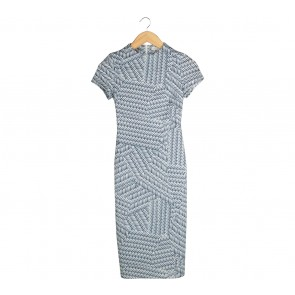 Love, Bonito Dark Blue And White Patterned Midi Dress